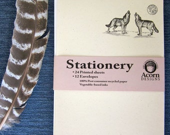 Recycled Paper Stationery Set - Howling Wolves, 100% Post-Consumer Recycled Content - Ecofriendly Gift