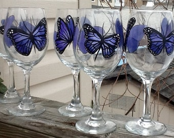Purple Butterfly whimsical handpainted wineglass, 14.95 each glass, single glass listing, a touch of elegance, bridal gift