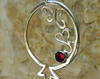 Sterling silver Pomegranate Pendant, Pomegranate necklace, Garnet stone, January Birthstone, Judaica,  pomegranate jewelry