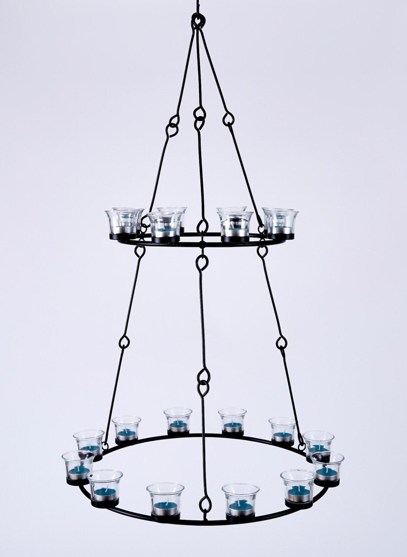 Tea light chandelier double tier tea light holder candle zoom arubaitofo Gallery