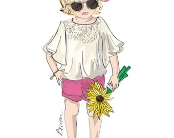 11 by 14 Children's Fashion Illustration Art Print featuring a little bohemian style girl