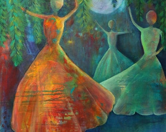 Fine Art Original Acrylic Painting, Moonlight Serenade, Women, Dancing, Moon, Vibrant, Teal, Orange, Blue, Green, On Hold