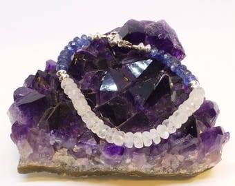 Rainbow Moonstone and Blue Kyanite Bracelet