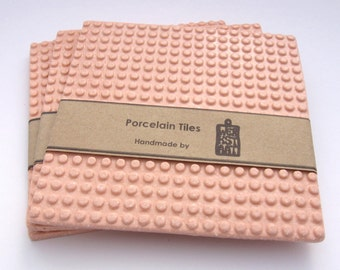 Modern baby rosa coaster, porcelain tiles, minimal coasters, large coaster, minimmalistic kitchenware, 5.30 x 5.30 inches