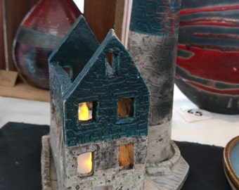 Unique Raku Fired Ceramic Pottery Incense burner tea light Handmade Cornish Engine House