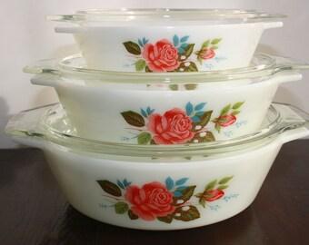 JAJ (Pyrex) Cottage Rose casseroles, 1970s