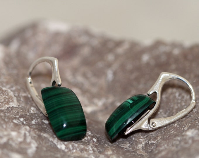 Subtle Malachite Earrings fitted in a sterling silver setting. Handmade & unique.