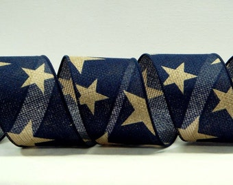 2.5 or 4 inch Wired Patriotic Ribbon ~ Blue Canvas Typre Ribbon Large Tan Stars ~ American Flag Ribbon ~ Great for Wreaths or Bows ~ 3 Yards