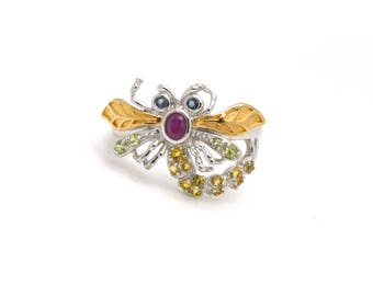 Sterling Silver Firefly Ring with Ruby, Citrine, Peridot & Aquamarine - Size 8