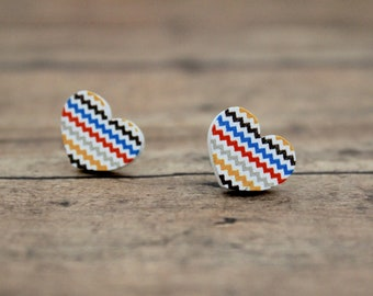 Multi Color Stripe Heart Wood Stud Earrings