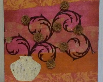 """12"""" X 12"""" Abstract Paper on Canvas Mixed Media Collage by Charles Davis"""
