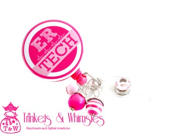 Emergency Room Technician | ER Tech Pink and White Retractable Badge Holder