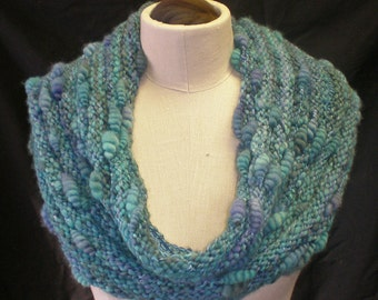 COWL PATTERN for handspun textured coiled art yarn Honeypot Cowl knitted