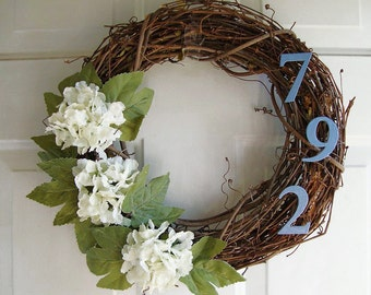 Grapevine Wreath Personalized with Address Street  Numbers 12""
