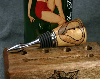 Wine Bottle Stopper with Woodburned Broken Heart