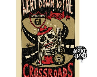went down to the crossroads poster by grego - blues folk art - mojohand.com