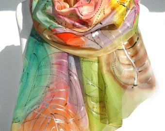 Hand Painted Silk Scarf. Gift for Her. Colorful Shawl Woman Birthday Gift. Silk Painting Genuine Art. Anniversary Gift. 18x71in. MADEtoORDER