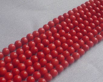 gemstone bamboo coral in orange/red round beads 4 mm / 15 inch
