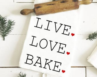 Valentine's Day Tea Towel - Live Love Bake Tea Towel - Cute Tea Towel - Love Towel - Valentine's Day Gift - Gift for Her - Anniversary Gift