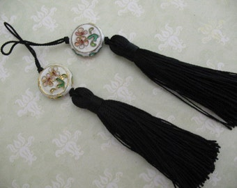 2 Luxe BLACK Silk TASSELS with charm jewelry making