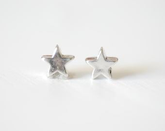 2pcs Sterling Silver Tiny Star Charm - 925 Sterling Silver Tiny Star connector, Sterling Silver Star beads, Star Connector, Link, Spacer