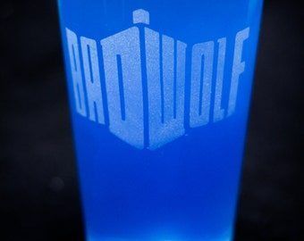 Doctor Who Badwolf Etched Pint Glass.