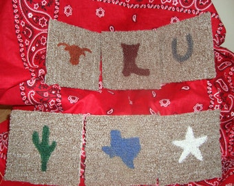 Soft Coasters..texas themed, college themed, animal themed, 4 inches, felt backing