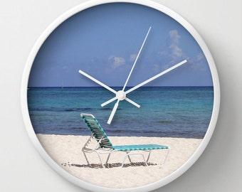 Beach Chair, Photo Wall Clock, Modern Wall Clock, Retro Wall Clock, Home Decor, Round Clock, Beach Clock, Home Accessories,Interior Design