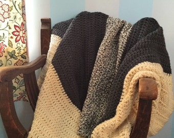 XL Chunky Wool Throw - Crochet Blanket - Chunky Knit Blanket - Wedding Blanket - Rustic Home - Handmade Blanket - Wool Blanket