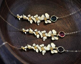 Gold Dogwood Necklace/ Asymmetrical Gold Necklace/ Dogwood Flower Necklace/Bridesmaids Jewelry/ Bridesmaids Gifts/ Wedding Jewelry/ Feminine