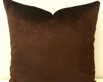 Luxury Brown Velvet Pillow Cover, Brown Pillow, Velvet Pillow, Decorative Pillow, Designer Throw Pillow, Cushion, Brown Velvet Pillow Covers