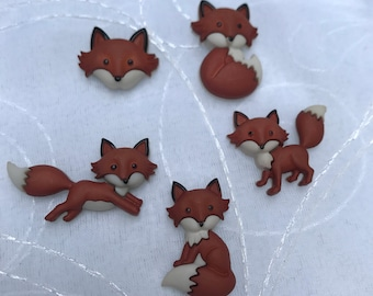 Out Foxed Magnets / Set of  Five  Red Fox Magnets / Animal Magnets / Fridge Magnets / Kitchen Magnets