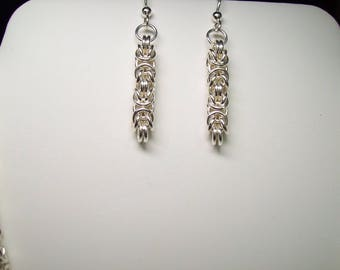 Sterling Silver Byzantine Earrings - .925 - Handmade Chainmaille