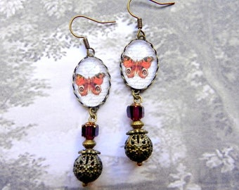 Cabochon earrings butterfly, baroque style, glass and metal beads, red, bronze and white colors