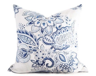 Floral Pillow, Floral Pillow Cover, Blue and White Pillow, Blue Floral Pillow, Blue Throw Pillows, Blue Cushions, Jacobean, 18x18, 20x20