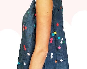 Navy Confetti organic sweet pea gauze sleeveless top