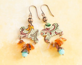 Bohemian Antique Copper Vintage Tin Earrings with Copper and Green Scroll Pattern, Orange Stone Chip Beads and Teal Blue Czech Glass Beads