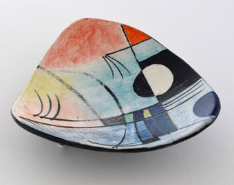 stylish retro ceramic bowl with unique hand painted American abstract expressionist motif