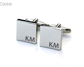 Stainless steel cuff links, engraved cufflinks, personalized metal cuff links, custom initials