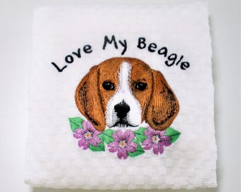 "Beagle Towel, Beagle Decor, Beagle Lover Gift, Dish Towel, Beagle Kitchen Towel, Beagle Gift, Birthday Gift, Hostess, Dog Lover  ""Sweet"""