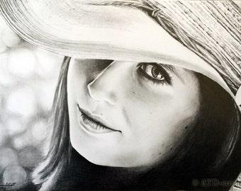 CUSTOM graphite pencil PORTRAIT - hand drawn portrait from your photo