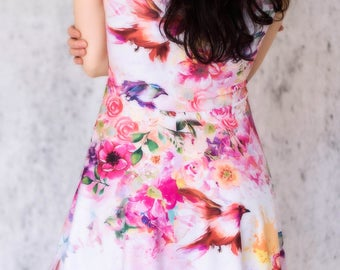 Spring melody charming gardens floral dress birds flowers summer