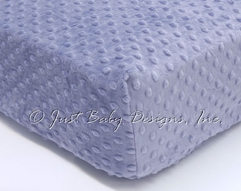 Fitted Crib Sheet - Minky Dot Denim Blue