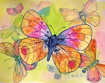 BUTTERFLY CLOUD - PRINT; wall art, orange color, stylized, ink and watercolor,child's room,senior's room, approximately 8 x 10 inches