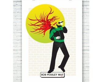 The Bob Marley Way - Art Print 'Brixton Bob' -  Bob Marley Brixton SW9 - Illustrated Art Print Posters - Abstract Music Posters of Brixton