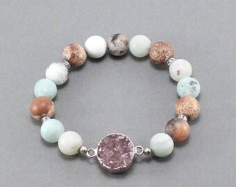 Druzy Pendant Amazonite Beaded Bracelet