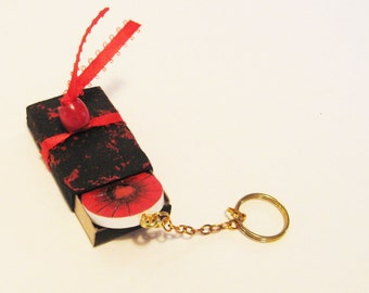 Key Chain, Red Poppy, Wood Flower Fob, OOAK Small Gift, Matchstick Box, Mixed Media Gift, Pocket Gift, Pyrography Flower