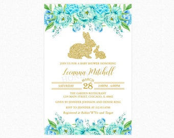 Bunny Rabbit Baby Shower Invitation, Blue Peony Watercolor Flowers, Glitter Rabbits, Personalized, Printable or Printed
