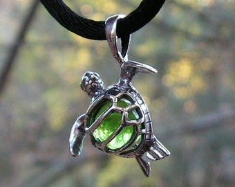 Sterling Silver Sea Turtle Pendant With Peridot
