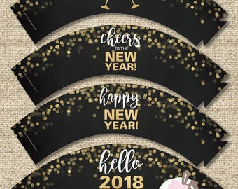 INSTANT DOWNLOAD New Year 2018 Printable Cupcake Wrappers
